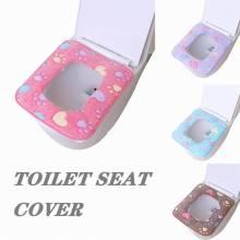 Home decor Bathroom Accessories Square Toilet Seat  Winter Toilet Seat Cushion Velvet Washable Toilet Seat Pad