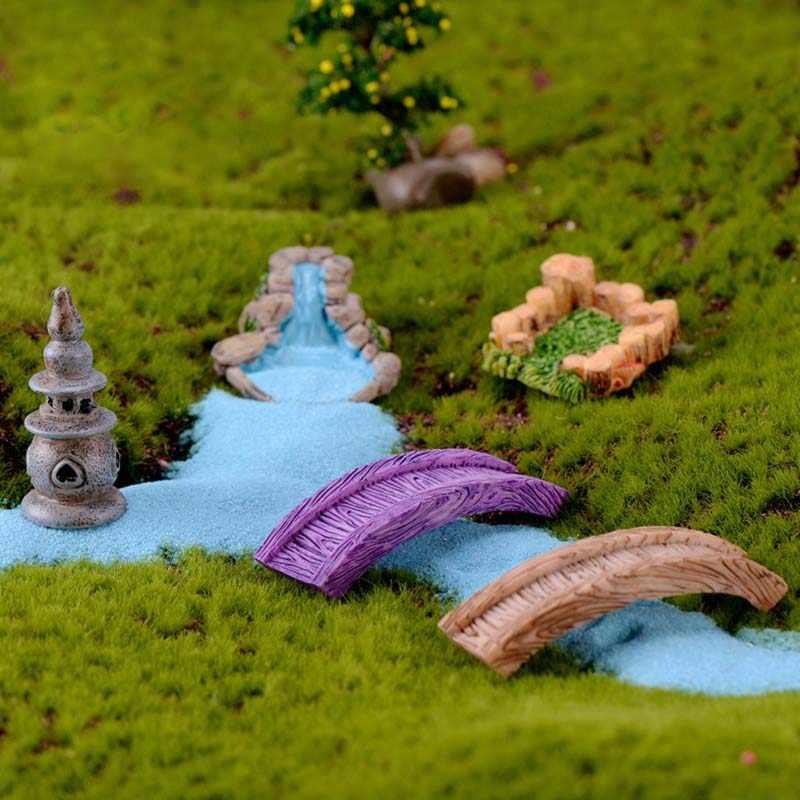 bricolage miniature mini puits d eau etang petit pont fee jardin pelouse ornement pour maison de poupee accessoires de decoration de la maison