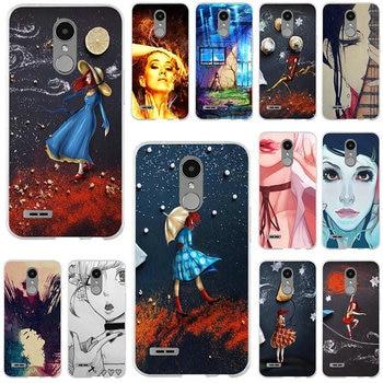 Soft Mobile Phone Cases for LG K4 K7 K8 K10 2017 V10 V20 V30 G2 G3 Mini G4 G5 G6 Stylus Nexus 5X Lost In Night Girl Red Dress