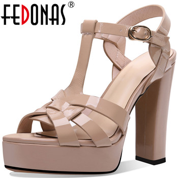 FEDONAS Sexy Genuine Leather Sandals For Women Platforms Peep Toe High Heels Pumps 2020 Summer Newest Wedding Office Shoes Woman