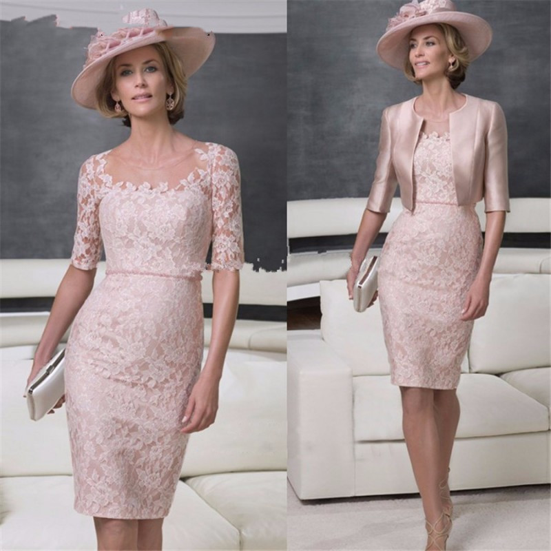 Knee Length Short Mother Of The Bride Groom Lace Dresses With Jackets 2019 For Wedding Party Gowns Half Sleeves Sheath Godmother