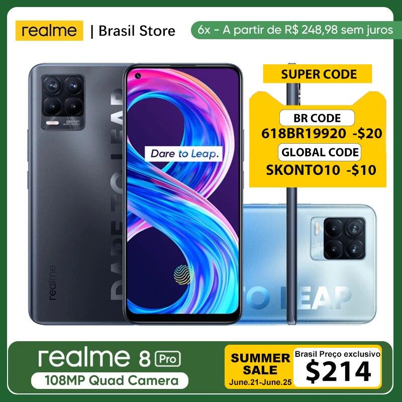 Realme 8 Pro глобальная Версия 8 ГБ 128 108MP Камера 50 Вт SuperDart заряда активно-матричные осид, Поддержка B2/4 штепсельная вилка европейского стандарта З...