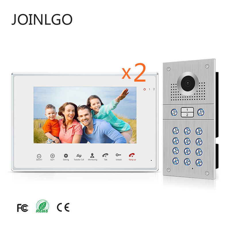 7 Inch Touch Button Monitor Steel Outdoor Panel Video Door Phone Intercom System RFID Card / Keypad Camera For 2 Apartment House