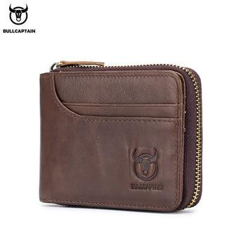 BULLCAPTAIN RFID новый мужской кошелек кожаный кошелек для монет дизайнерский брендовый кошелек клатч кожаный кошелек мужской кошелек держатель д...