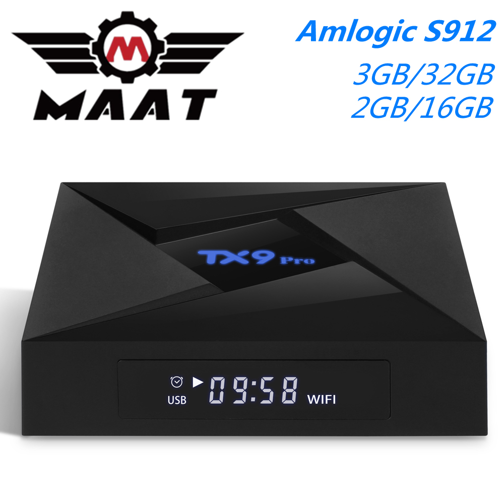 MAAT 3GB RAM 32GB Smart Media Player 2GB Ram 16GB Amlogic S912 Octa Core Set Top Box 2.4G/5G Wifi 4K TX9 Pro Android 7.1 TV Box(China)