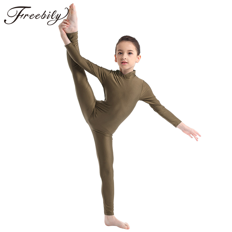 Toddler Teens Girls Ballet Leotards Gymnastics Unitards Children Dancewear Kids Full Body Long Sleeved Zipper Leotard Jumpsuit