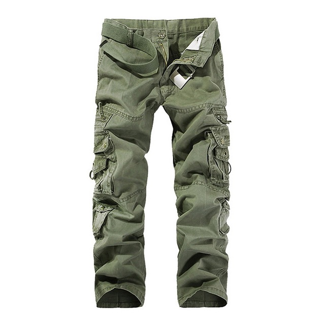 SHUJIN High Quality Men's Cargo Pants Casual Loose Multi Pocket Military Pants Long Trousers For Men Camo Joggers Plus Size 1