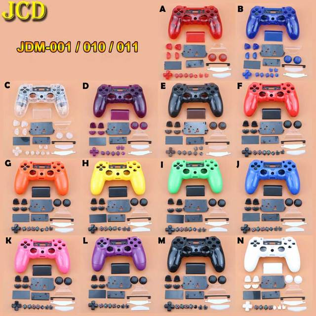 JCD Clear Matt Handle Front Back Housing Shell Case Cover Buttons Kit for PS4 JDM 001 Dualshock 4 Old Version Gamepad Controller