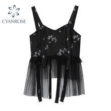 De malla de encaje arco camiseta mujeres Streetwear moda Floral V Top cortos sin cuello dama 2021 novedad de verano Estética de diseño tanques