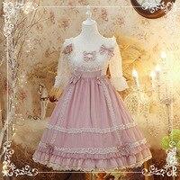 Flower wedding Cosplay Lolita Pure color Chiffon OP Dress Fairytale Japanese Sweet Princess Lace Ruffles Dress Pink Summer