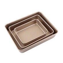 Moule à pain rectangulaire doré antiadhésif en acier au carbone, ustensiles de cuisson en profondeur, plateau pour pâtisserie et Biscuits, fournitures de cuisson DIY