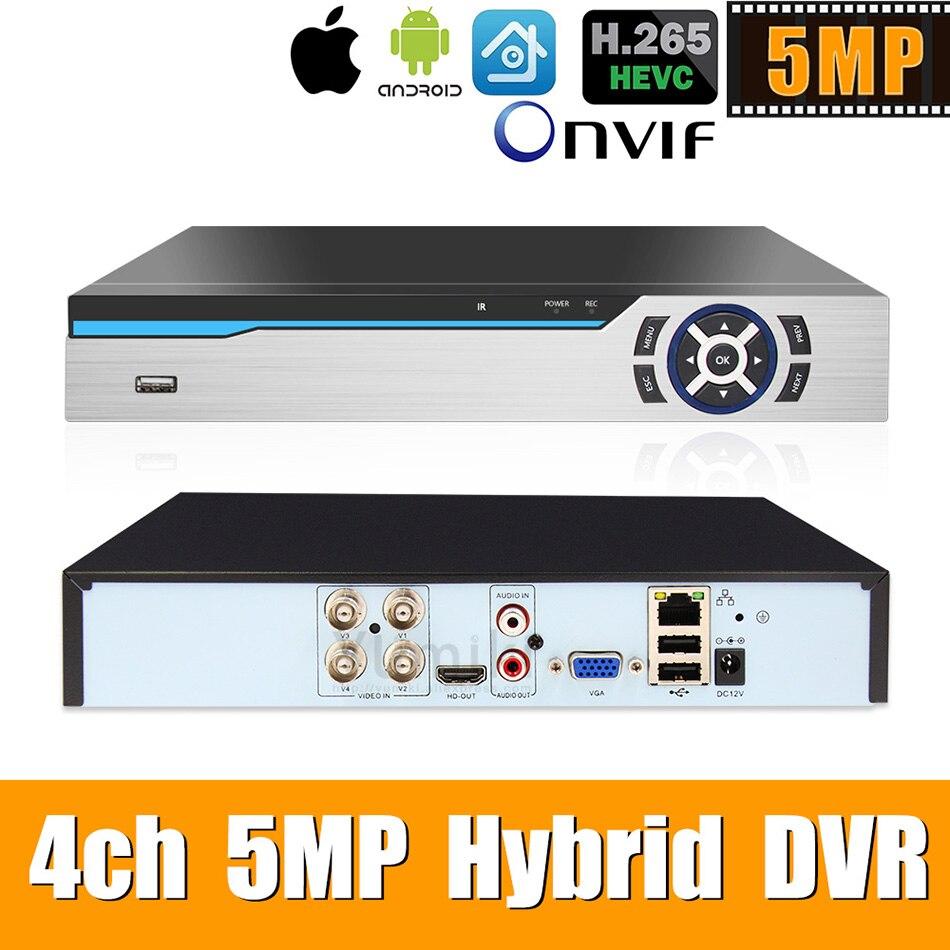 Enregistreur hybride vidéo 6 en 1 H.265 + 4ch AHD pour caméra 5MP/4MP/3MP/1080 P/720 P Xmeye Onvif P2P CCTV DVR AHD DVR prise en charge USB wifi