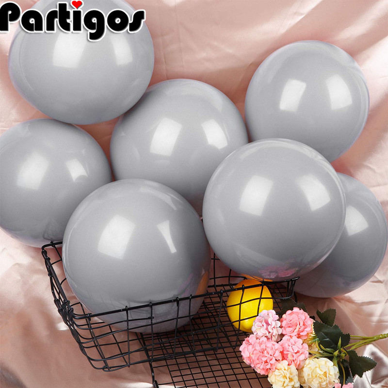 5inch 10inch 12inch 18inch 24inch Large <font><b>Big</b></font> Grey <font><b>Balloons</b></font> Round <font><b>Latex</b></font> ballons Arch Baby Shower Wall Backdrop Decoration image