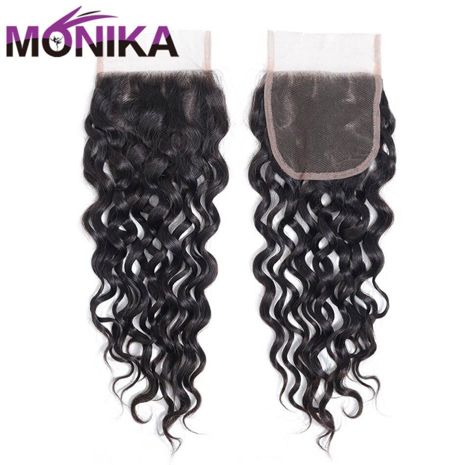 Monika cheveux brésiliens vague d'eau fermeture 130% densité 4*4 suisse dentelle fermeture libre/moyen/trois parties Non Remy fermeture de cheveux humains