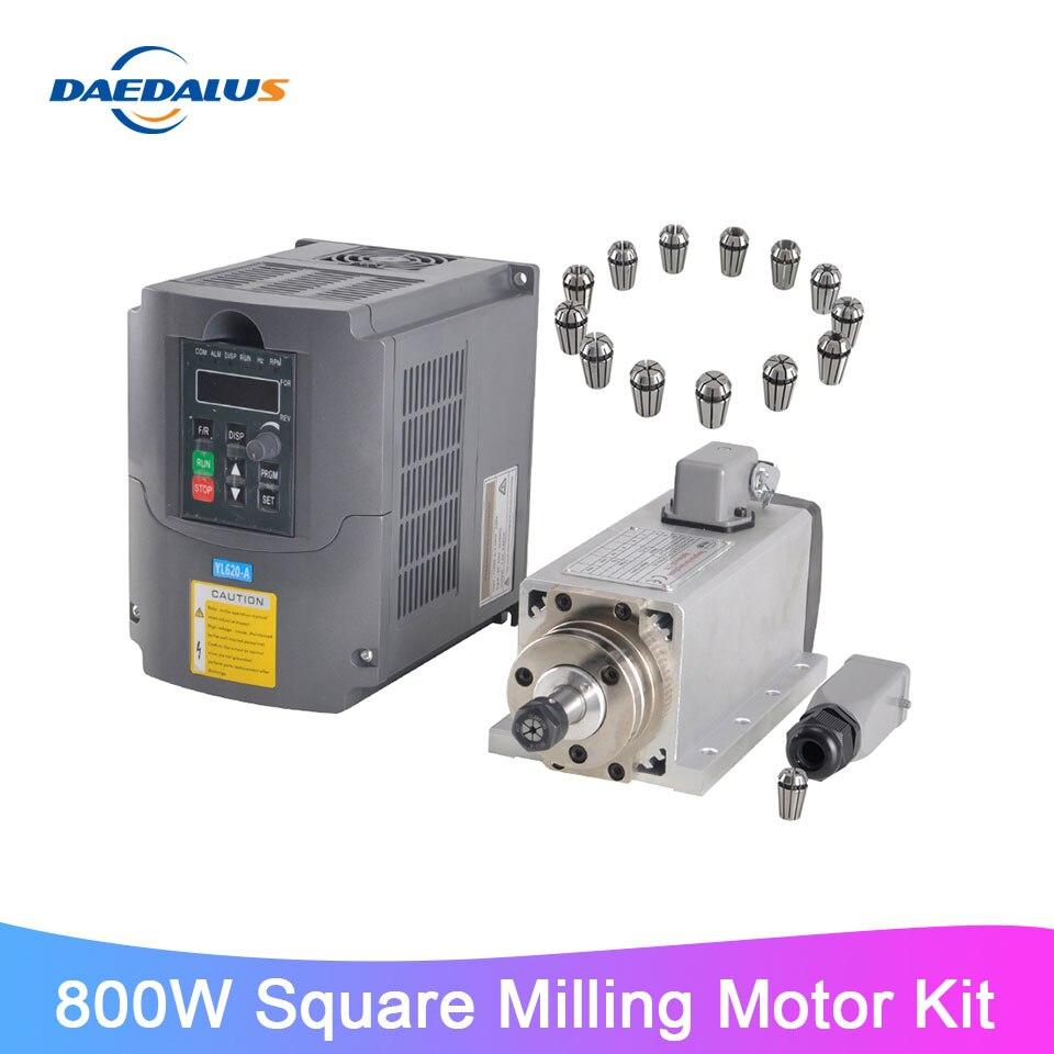 800 Вт 220 В квадратный шпиндель ER11 фрезерный двигатель 1.5KW VFD преобразователь частоты 13 шт. ER11 цанговый патрон для ЧПУ гравер