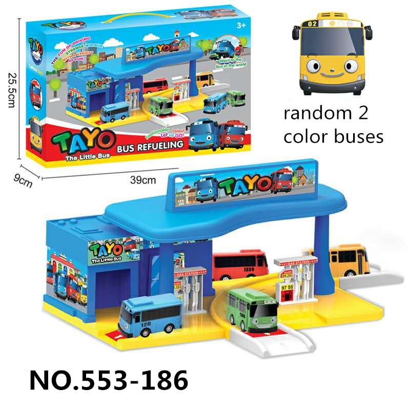 Korean Cartoon Tayo The Little Bus Set Parking Lot Assembled Garage Gas Station Model With 2 Mini Tayo Car Kids Gift
