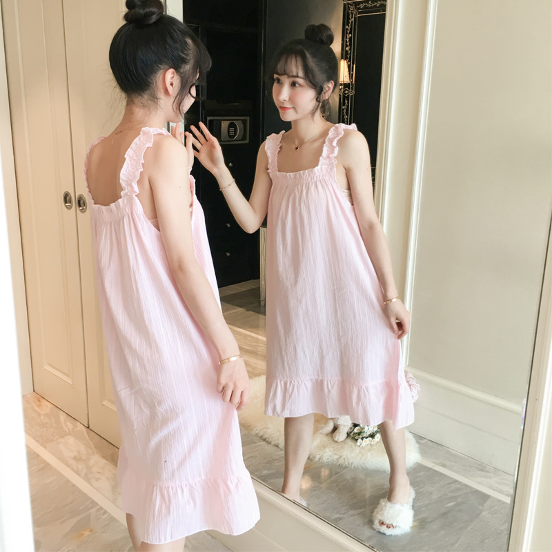 2020 Summer New Style Tatting Solid Color Sweet Pure Cotton Parent And Child Women's Slip Nightdress