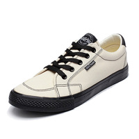 Whoholl Men Canvas Shoes 2019 Fashion Solid Color Men Vulcanized Shoes Lace up White Casual Shoes Men Sneakers Plus Size 39 44