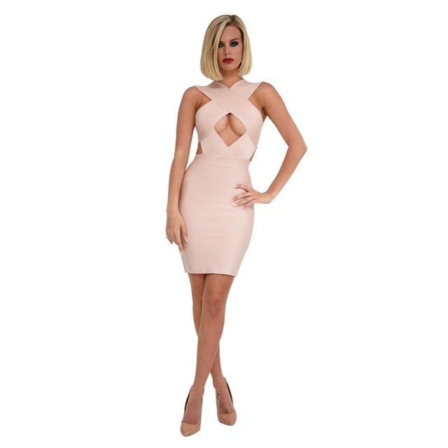 BANDAGE New Nude Rayon Bandage Dress Women Vestidos Celebrity Runway Party Dress Hollow Out Sleeveless Christmas Eve Dresses