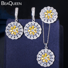 BeaQueen Summer Flower Yellow Cubic Zirconia Stone Earrings Pendant Necklace and Ring 3pcs Women Fashion Jewlery Sets JS157 beaqueen twinkling cubic zirconia stone lovely star earrings necklace cz crystal starfish women fashion party jewelry sets js119