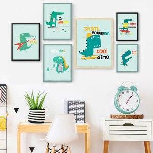 Мультяшный маленький динозавр крокодил скандинавские плакаты и принты на холсте настенные картины для детской комнаты детская комната Дом...