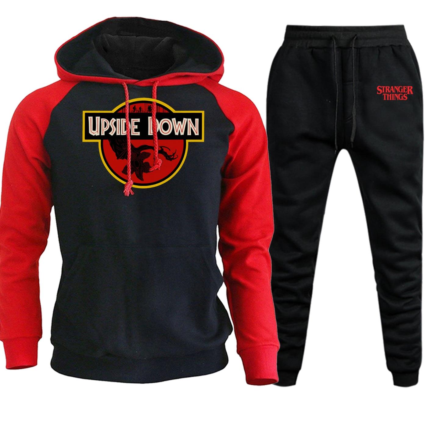 Stranger Things New Autumn 2019 Hooded Mens Streetwear Hip Hop Pullover Suit Casual Hoodie Fleece Sweatshirts+Pants 2 Piece Set