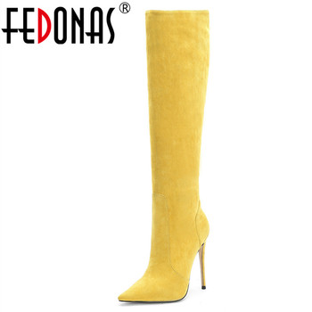 FEDONAS Sexy Women Pointed Toe Over The Knee High Boots Dancing Night Club Shoes Woman Warm Thin Heels Riding Boots Big Size