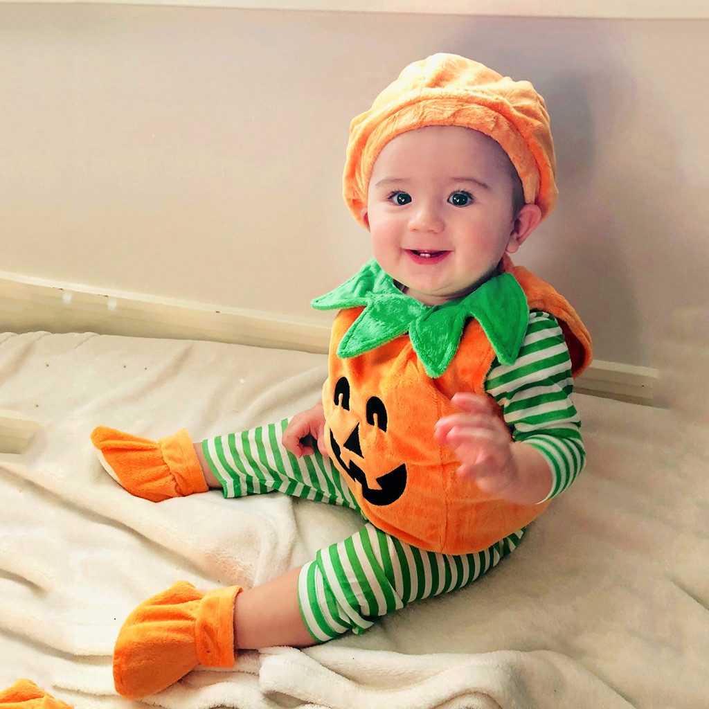 Cap Halloween Toddler Romper Outfits-Set Pumpkin Girls Infant Baby Boys Kids Print Sleeveless