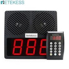 Retekess TD101 번호 호출 시스템 무선 식당 호출기 대기열 관리 시스템 비즈니스 용 시끄러운 스피커 3 자리 디스플레이