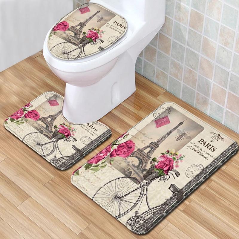Portable Bathroom Anti-Slip Carpet Bathroom+Toilet Seat Cover Door Floor Mat
