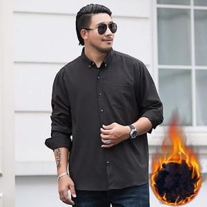 Image 2 - 2020 Winter Warm Men Shirt White Long Sleeve Fleece High Quality Formal Shirts Mens Regular Fit 8XL 9XL 10XL Plus Size Blouse
