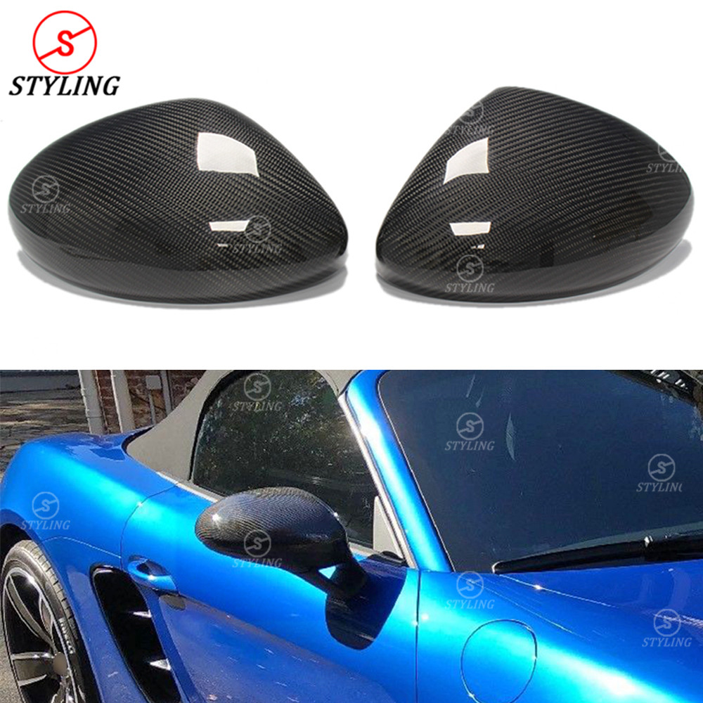718 Carbon Mirror Cover For Porsche RearView Side Mirror Cover Caps LHD Only add on style 2016 2017 2018 2019