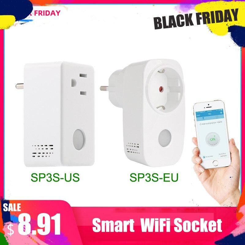 Broadlink SP3S EU/US Energie Monitor Smart Draadloze WiFi Socket Afstandsbediening Met Power Meter Controle Door IOS Android