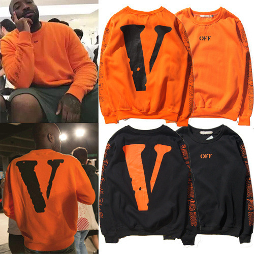 19ss Europe And America Men And Women Hip Hop Orange Large V Printed Retro Long-sleeved Sweater Harajuku-Style Plus Velvet Hoodi