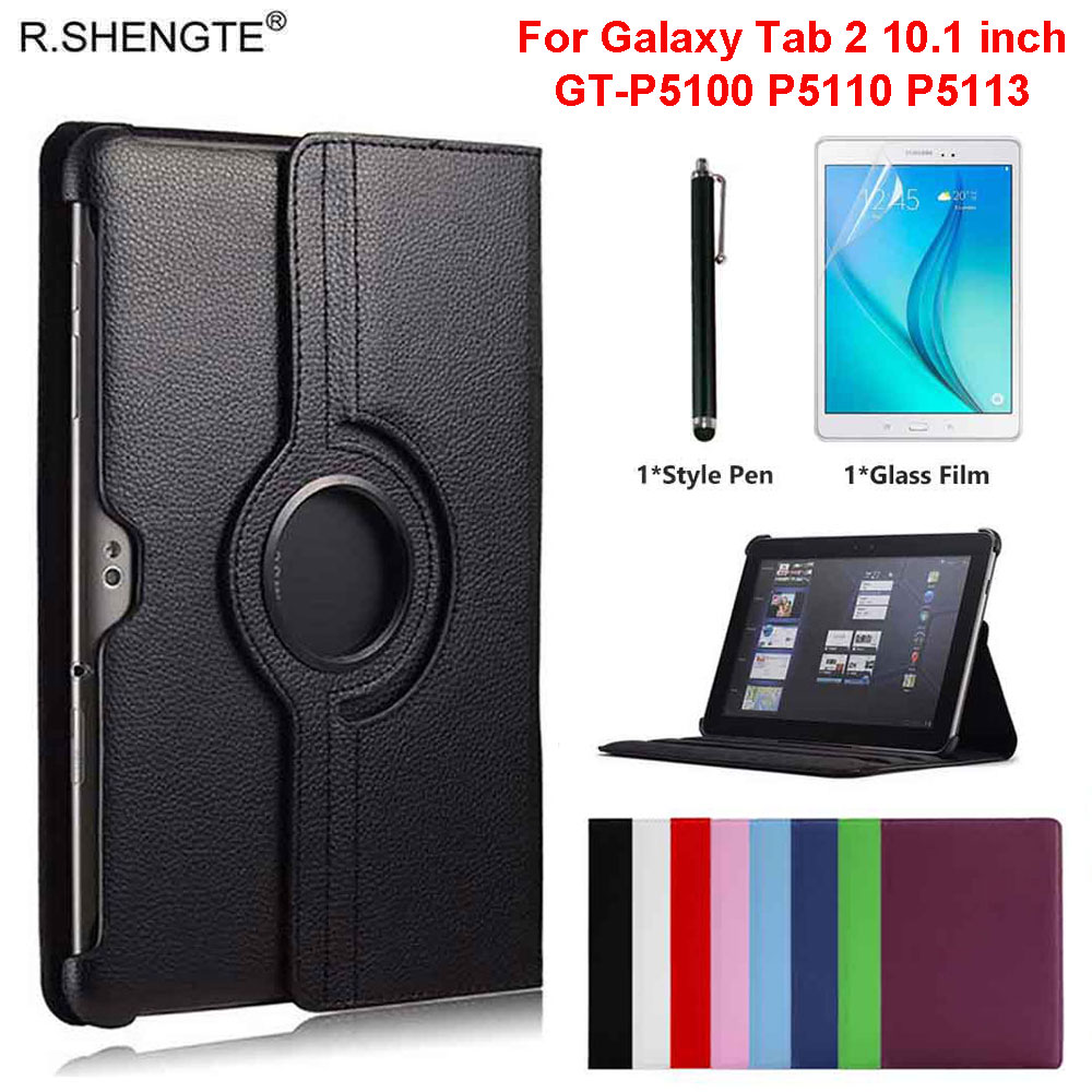 360 Rotating Case For <font><b>Samsung</b></font> Galaxy <font><b>Tab</b></font> 2 <font><b>10.1</b></font> Tablet GT-P5100 GT-P5110 GT-P5113 Case Folio Leather Stand <font><b>Cover</b></font> With Pen+Film image