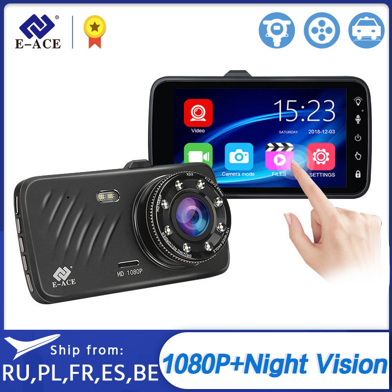 E-ACE Car Dvr 4.0 Inch Touch Dash Cam FHD 1080P Video Recorder Dual Lens Mini Dashcam with Rear View Camera Auto Registrar Dvrs
