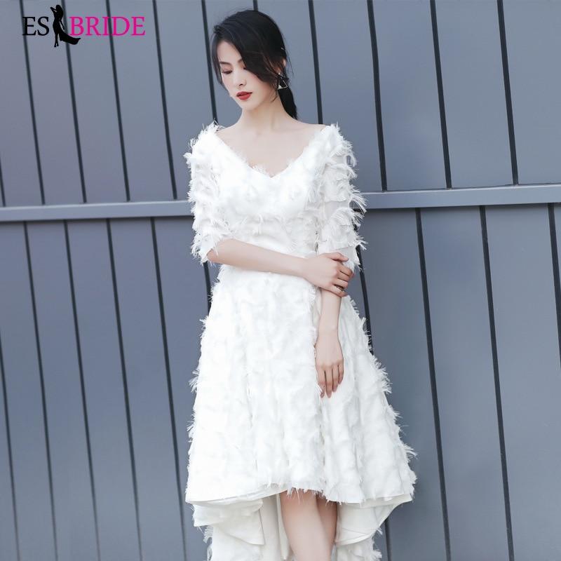 White Cocktail Dresses ES30114 A-Line Ruffles V-Neck Half Sleeve Lace Short Front Long Back Party Dresses Vestido Coctel