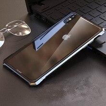 غطاء معدني فاخر لهاتف آيفون XS زجاج شفاف خلفي من الألومنيوم إطار معدني غطاء لهاتف آيفون XR 11 Pro Max غلاف رقيق نحيف