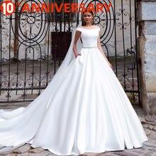 Роскошное Свадебное платье baziiingaaa простое атласное белое