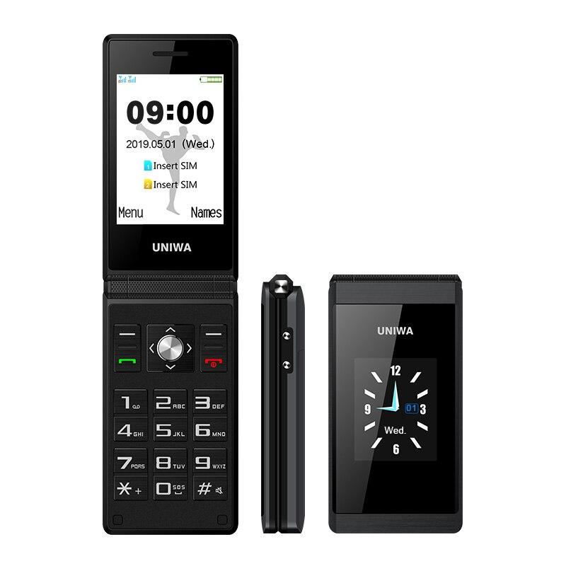 UNIWA X28 Dual Screen Flip Senior Push-Button Mobile Phone Handwriting Clamshell CellPhone Russian Keyboard Key Phone