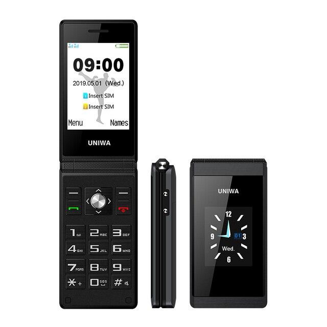 UNIWA X28 כפולה מסך Flip בכיר בלחיצת כפתור נייד טלפון כתב יד צדפה נייד רוסית מקלדת מפתח טלפון