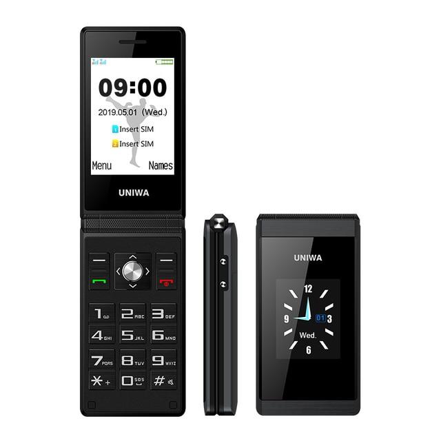 UNIWA X28 double écran rabat Senior bouton poussoir téléphone portable écriture à clapet téléphone portable russe clavier téléphone
