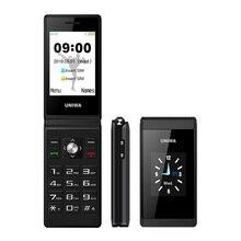 Uniwa x28 tela dupla flip sênior botão do telefone móvel caligrafia clamshell celular teclado russo telefone chave
