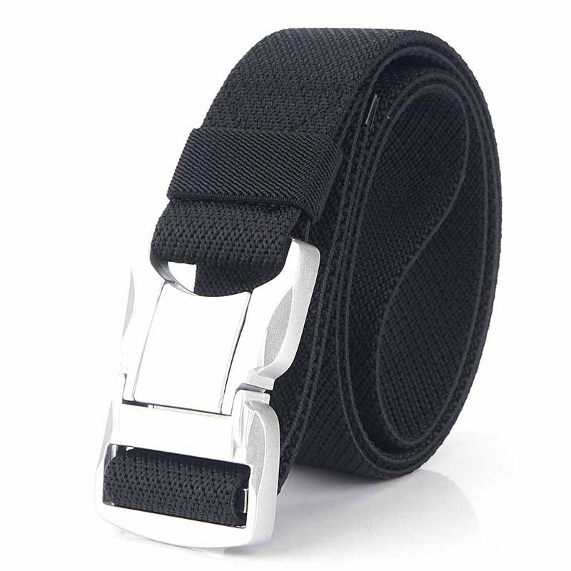 Elastic Men Belt Silver Aluminum Alloy Pluggable Buckle Casual Male Jeans Belt Stretch Comfortable Tactical Belts Luxury Strap