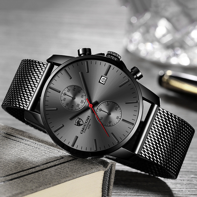 Mens Leather Waterproof Chronograph Watch