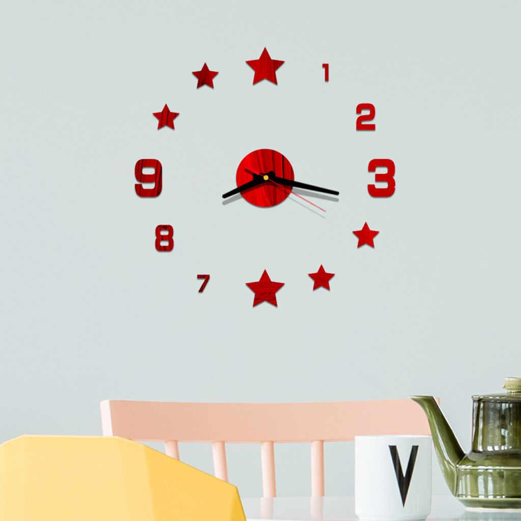 3d זוהר אמיתי גדול קיר שעון מיהר מראה קיר מדבקת Diy סלון בית תפאורה שעוני קוורץ גדול שעוני קיר ##8