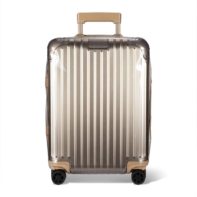 Capa de bagagem personalizado protetor para rimowa claro pvc mala trole caso pele protetora com fecho zíper borda redonda