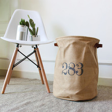 Cotton Linen Storage Bucket Laundry Basket Hamper Foldable Japanese Style Simple Bedroom Household Items american country style big size american flag foldable sundries storage bucket cotton and linen laundry bucket
