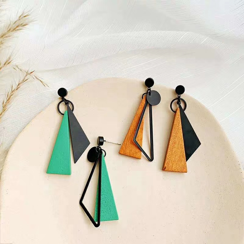 2020 New Fashion Triangle Geometric Long Drop Earrings For Women Orange Green Jointed-Color Wooden Earrings