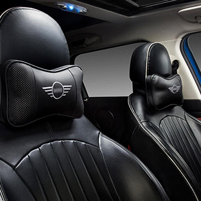 Car Memory Cotton Logo Headrest For BMW MINI COOPER S JCW F54 F55 F56 F57 F60 R55 R56 R60 Both Side Pu Leather Car Neck Pillow